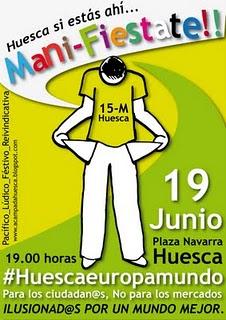 Carteles manifestación 19-J para Huesca
