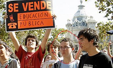 ¿Que hacía Vodo esta mañana en una manifa de estudiantes en Valencia?